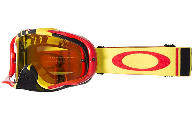 MASCARA OAKLEY CROWBAR MX PINNED RACE YELLOW RED W/FIRE IRID + CLEAR