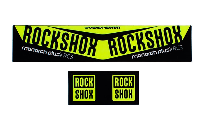 KIT STICKER ROCKSHOX MONARCH PLUS DEBONAIR 2016 JAUNE FLUO
